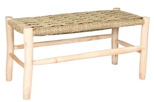 banquette 80 cm en bois de laurier et feuille de palmier. Black Bedroom Furniture Sets. Home Design Ideas