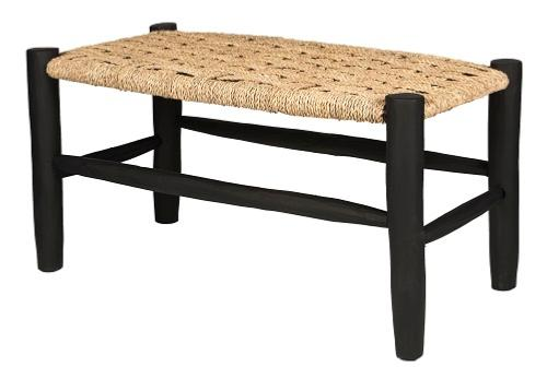 banquette 80 cm en bois de laurier et feuilles de palmier. Black Bedroom Furniture Sets. Home Design Ideas