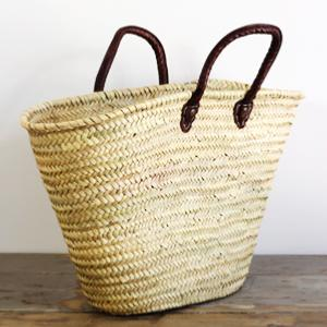 Basket - Wicker & Leather, M