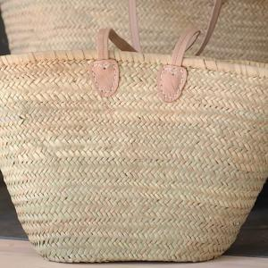 Basket - Wicker & Leather, L